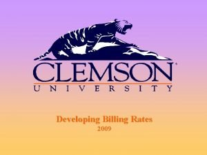 Developing Billing Rates 2009 What Is A Billing