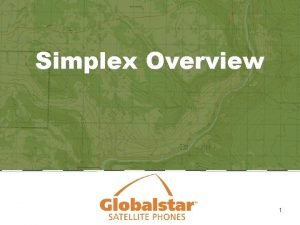 Simplex Overview 1 Simplex Overview 1 2 3