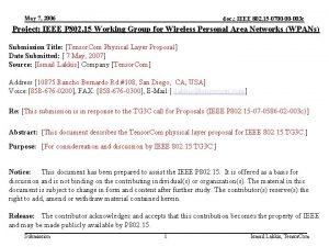 May 7 2006 doc IEEE 802 15 0700