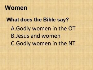 Women What does the Bible say A Godly