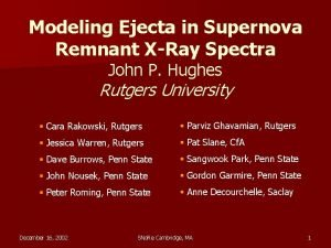 Modeling Ejecta in Supernova Remnant XRay Spectra John