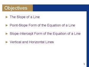 Objectives The Slope of a Line PointSlope Form
