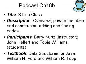 Podcast Ch 18 b Title STree Class Description
