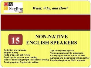 What Why and How 15 NONNATIVE ENGLISH SPEAKERS