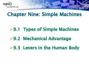 Chapter Nine Simple Machines 9 1 Types of