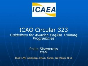 ICAO Circular 323 Guidelines for Aviation English Training