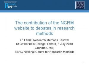 The contribution of the NCRM website to debates
