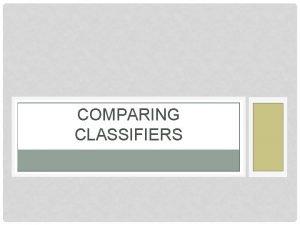 COMPARING CLASSIFIERS SAMPLE ERROR Error of hypothesis h