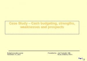 Case Study Cash budgeting strengths weaknesses and prospects