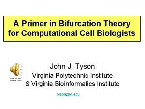 A Primer in Bifurcation Theory for Computational Cell