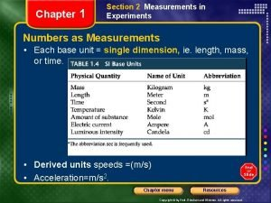 Chapter 1 Section 2 Measurements in Experiments Numbers
