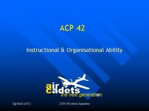 ACP 42 Instructional Organisational Ability Sgt Hall ATC