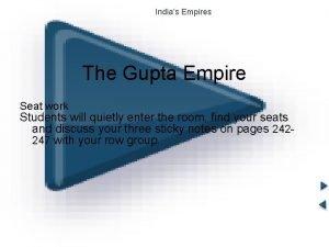 Indias Empires The Gupta Empire Seat work Students