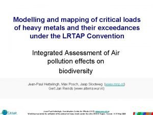 Modelling and mapping of critical loads of heavy
