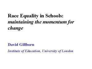 Race Equality in Schools maintaining the momentum for