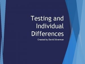 Testing and Individual Differences Created by David Silverman