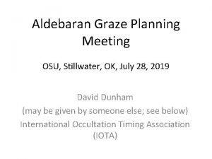 Aldebaran Graze Planning Meeting OSU Stillwater OK July