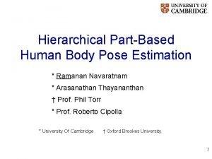 Hierarchical PartBased Human Body Pose Estimation Ramanan Navaratnam