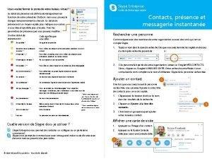 Skype Entreprise Contacts prsence et messagerie instantane Skype