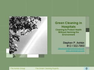 Green Cleaning in Hospitals Cleaning to Protect Health