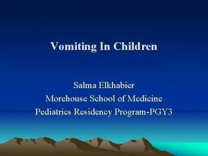 Vomiting In Children Salma Elkhabier Morehouse School of