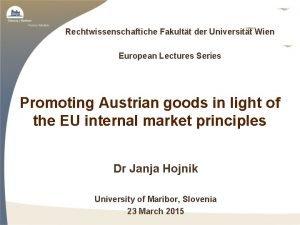Rechtwissenschaftiche Fakultt der Universitt Wien European Lectures Series