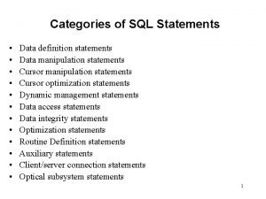 Categories of SQL Statements Data definition statements Data