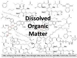 lignin Dissolved Organic Matter lignin OH O Me