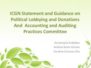 ICGN Statement and Guidance on Political Lobbying and