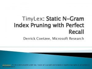 Tiny Lex Static NGram Index Pruning with Perfect