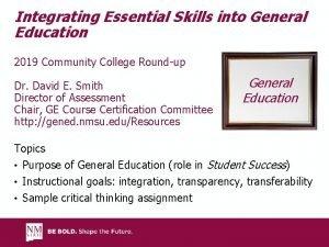 Integrating Essential Skills into General Education 2019 Community