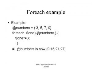 Foreach example Example numbers 3 5 7 9