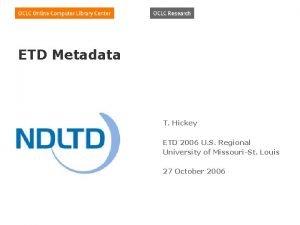 ETD Metadata T Hickey ETD 2006 U S