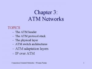 Chapter 3 ATM Networks TOPICS The ATM header