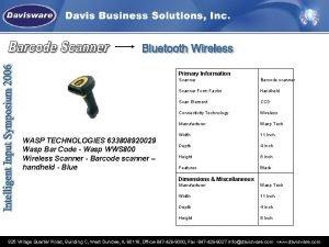 Primary Information Scanner Barcode scanner Scanner Form Factor