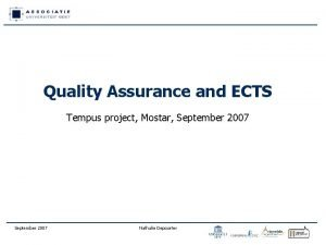 Quality Assurance and ECTS Tempus project Mostar September