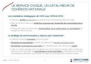 LE SERVICE CIVIQUE UN CATALYSEUR DE COHSION NATIONALE