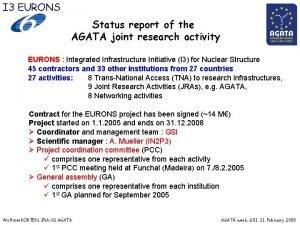 I 3 EURONS Status report of the AGATA