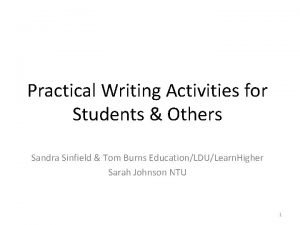 Practical Writing Activities for Students Others Sandra Sinfield