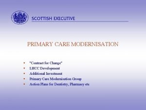 abcdefghijkl PRIMARY CARE MODERNISATION Contract for Change LHCC