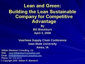 Lean and Green Building the Lean Sustainable Company
