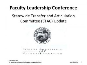 Faculty Leadership Conference Statewide Transfer and Articulation Committee