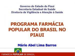 Governo do Estado do Piaui Secretaria Estadual de