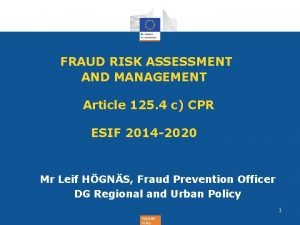FRAUD RISK ASSESSMENT AND MANAGEMENT Article 125 4