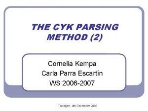 THE CYK PARSING METHOD 2 Cornelia Kempa Carla