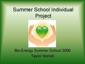Summer School Individual Project BioEnergy Summer School 2009