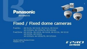 1 Fixed Fixed dome cameras Fixed Box WVS