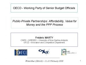 OECD Working Party of Senior Budget Officials PublicPrivate