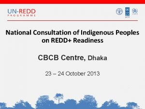 National Consultation of Indigenous Peoples on REDD Readiness