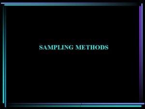 SAMPLING METHODS Reasons for Sampling Samples can be